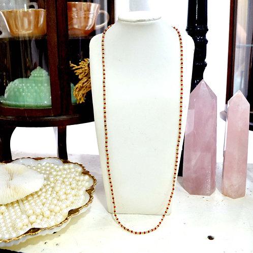 民族風紅金色珠子長項鍊 貴婦淑女 日本高級二手古著珠寶首飾