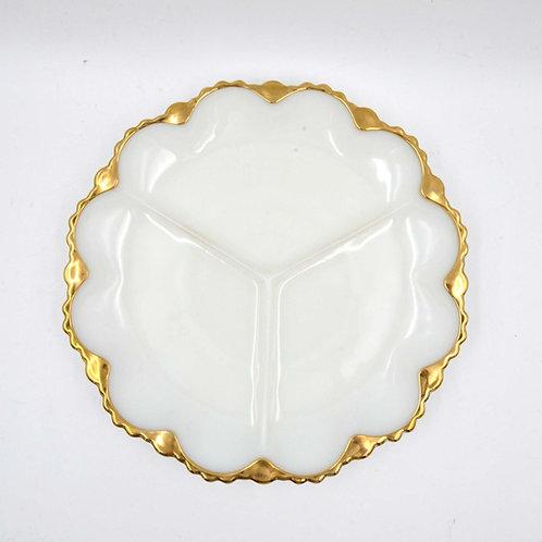 FIRE KING 玉蛋白玻璃鍍金邊三格早餐圓碟 甜品碟零食盤 可進焗爐