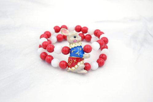 藍色兔子伯爵 紅色珠子雙串手鍊