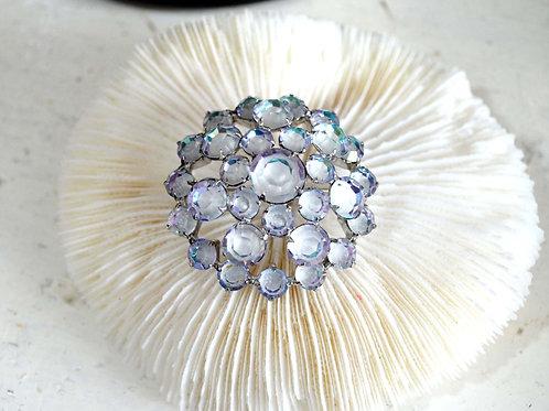 幻彩藍色玻璃水晶鍍銀胸針 高級優雅 日本高級二手中古珠寶首飾