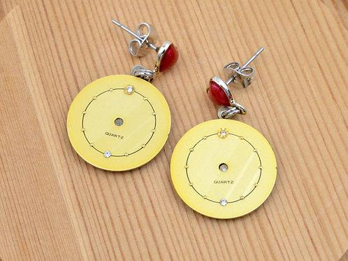 金色配水鑽古董錶面耳環  Golden Vintage Dial Earrings