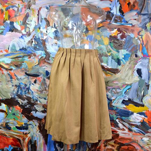 奶茶色咖啡條子全棉斜紋帆布百摺橡筋裙頭及膝裙 日本文青古著