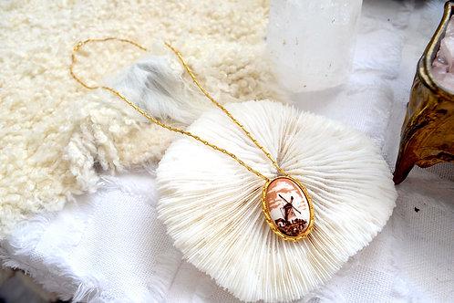 老件鍍金鍊子鑲嵌鵝蛋型風車圖案頸鍊 日本高級二手古著珠寶首飾