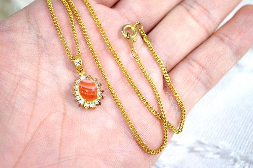 橘色白間三文魚色瑪瑙寶石頸鏈 日本高級二手古著貴婦珠寶首飾