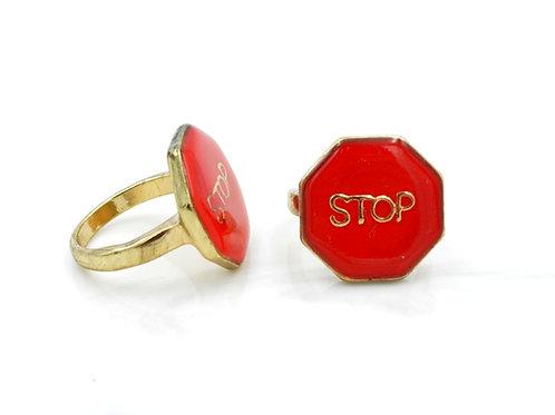 紅色STOP字合金戒指