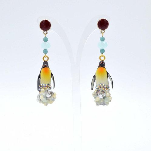 TIMBEE LO 企鵝冰層耳環 綴水晶寶石手工製作