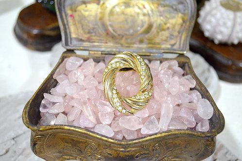 皇室風圓圈香檳金絲巾夾 高貴優雅 日本二手中古珠寶首飾古著