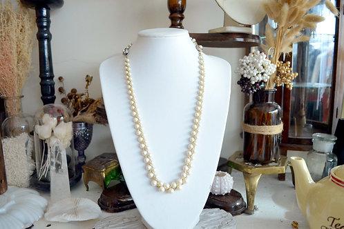 鍍金配珍珠項鏈加手鍊套組 高貴優雅 日本二手中古珠寶首飾古著