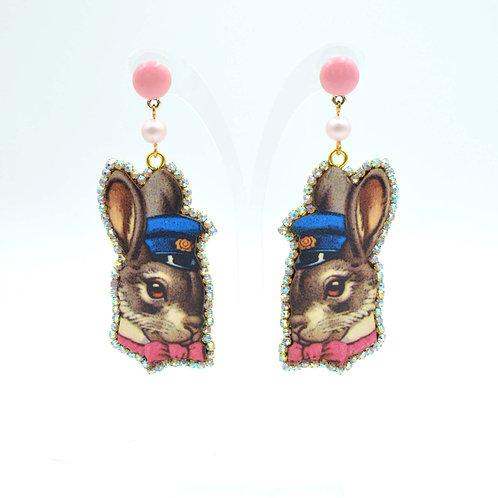 美國木片兔子紳士圖案耳環 綴施華洛水晶繞邊 超輕平面數碼打印 的副本 的副本 的副本 的副本