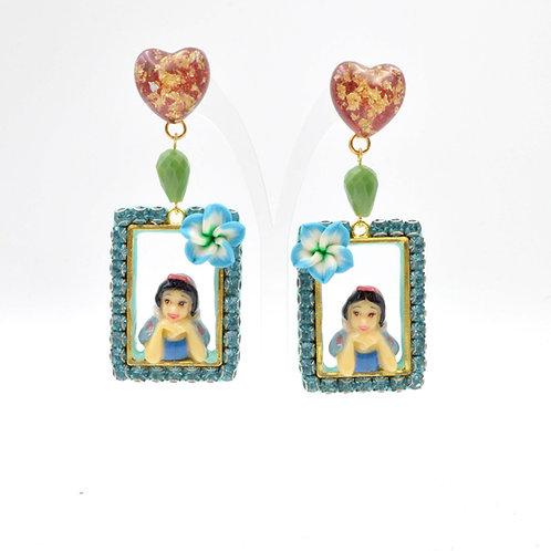 白雪公主立體拼合畫框耳環 綴施華洛水晶寶石裝飾