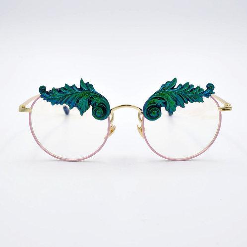 TIMBEE LO 綠色巴洛克雕花平光眼鏡