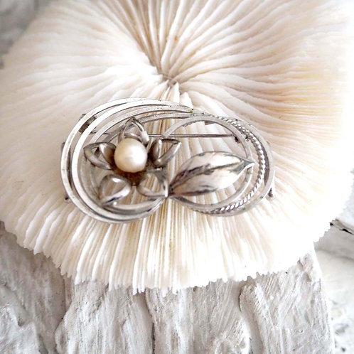 銀色花型珍珠胸針頸圈花 幼腰帶裝飾扣 日本高級二手中古珠寶首飾