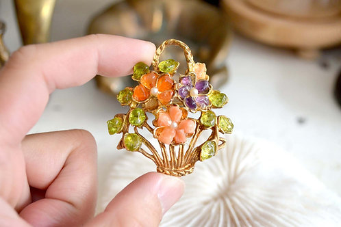 復古鍍金托多色水晶花卉胸針 高貴優雅 日本二手中古珠寶首飾古著
