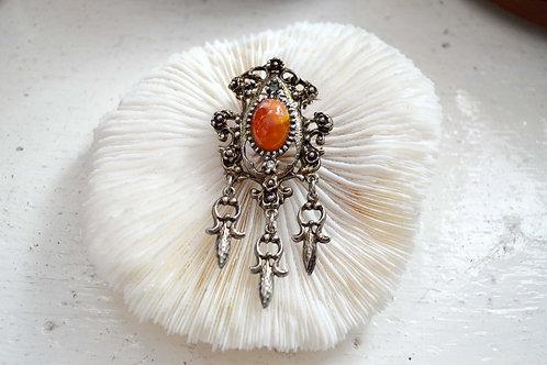 925純銀雕花瑪瑙水晶石胸針扣針 日本中古二手珠寶首飾高貴優雅