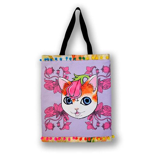 GOOKASO 紫草貓咪雙面購物袋 TOTE BAG  棉麻印花圖案 背面日本和服織錦綢緞 綴彩色小球花邊