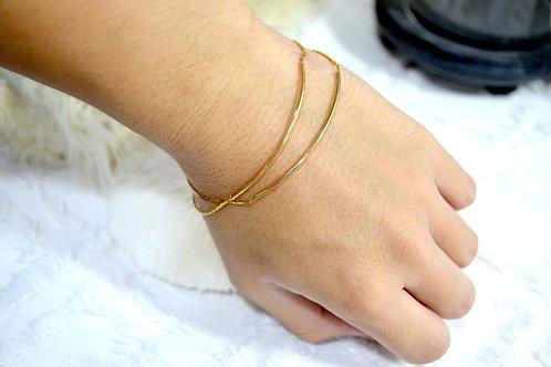 簡約風鍍金雙層手鏈 貴婦少女 日本高級二手古著珠寶首飾