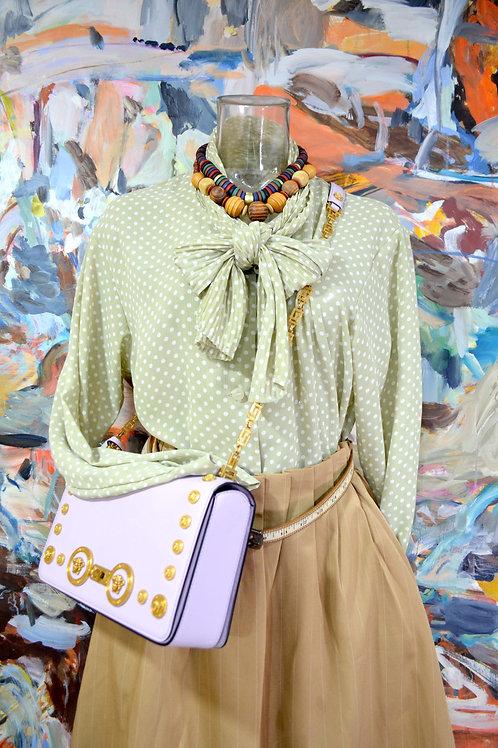草綠色圓點絲巾蝴蝶結領口寬鬆襯衫 文青風高貴優雅 日本中古古著
