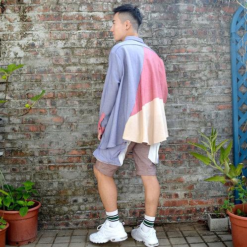 TIMBEE LO 杏藍紅三色原身拼色厚身棉質 寬鬆斗蓬不規則恤衫襯衫