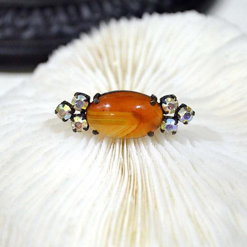 高級蛋型瑪瑙寶石小胸針 高貴優雅 日本高級二手中古珠寶首飾