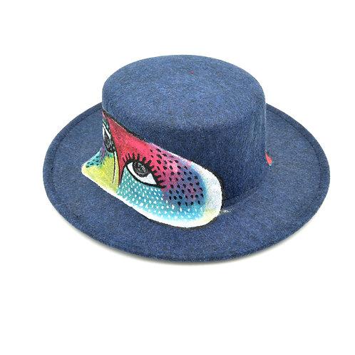 手繪抽象人面繪畫羊絨禮服帽子 Hand Paint Hat
