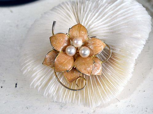 粉橘色豪華琺瑯花鍍金珍珠胸針 日本豪華高級二手中古珠寶首飾