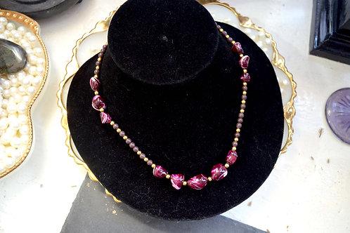 民族風紫色樹脂黑金珠子項鍊 貴婦淑女 日本高級二手古著珠寶首飾