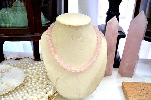 中長粉晶項鏈超美銀扣 貴婦淑女 日本高級二手古著珠寶首飾