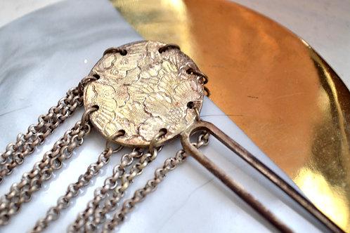 中古日本古代純銀髮釵 貴婦古董 日本二手古著珠寶首飾