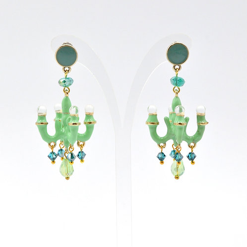 TIMBEE LO 草綠色 迷你吊燈耳環 法式樹脂搪瓷塗層 Sky Blue Mini Chandelier Earring
