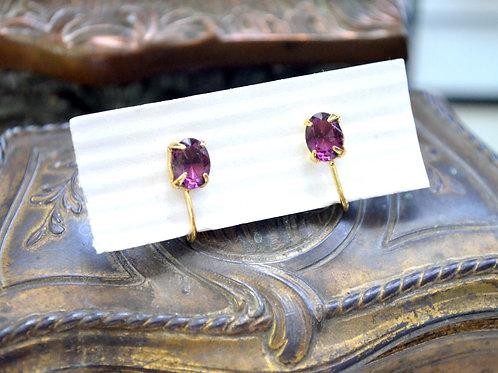 貴族紫色鍍金皓石耳夾 貴婦淑女 日本高級二手古著珠寶首飾