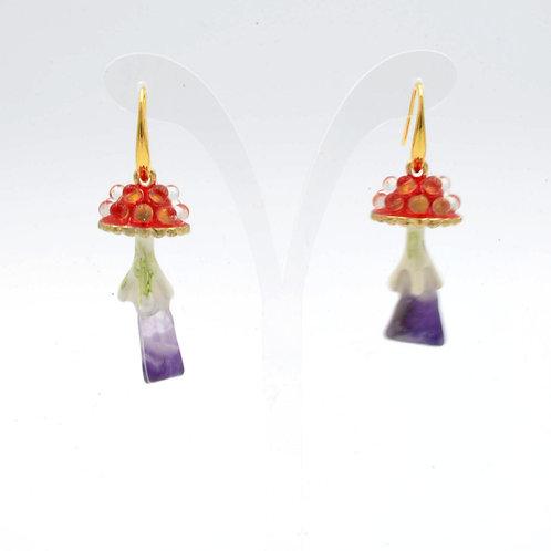 鮮紅色 Gookaso 蘑菇紫水晶魔法石耳環  粉晶 紫晶 綠松石 綠幽靈