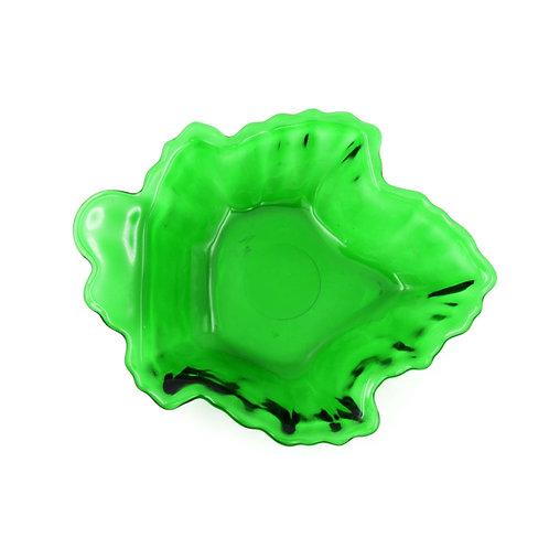 美國 FIRE KING中古 翡翠綠立體樹葉型玻璃水杯子 古董老件商品