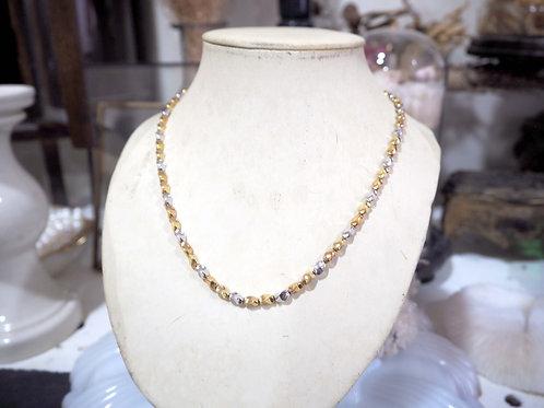 金色銀色立體扭紋型項鏈頸鏈 貴婦人淑女 日本高級二手古著珠寶首飾