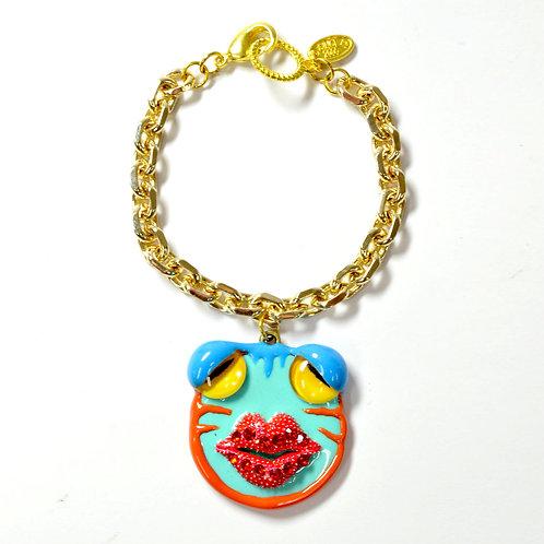 TIMBEE LO 手工製PEPE青蛙臉大嘴巴手鍊 鍍18K銅質手鍊防過敏不掉色