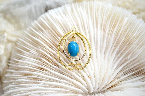 鵝蛋型藍色松石鍍真金吊墜 沒有頸鍊 日本高級二手古著珠寶首飾