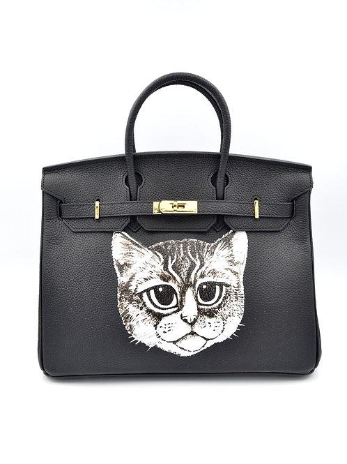 TIMBEE LO X GOOKASO 設計師手繪貓咪圖案頭層牛皮手袋包包 接單訂製款 Hand Paiinting Handbag Made to Order