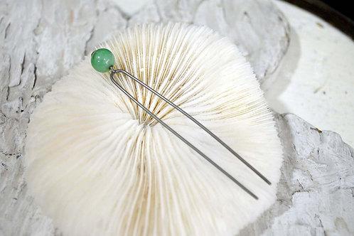 稀有古董復古綠色玉石鍍銀髮簪 高貴優雅 日本二手中古珠寶首飾古著