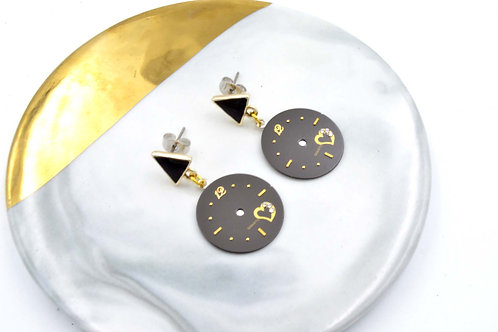 黑色古董錶面耳環  Black Vintage Dial Earrings