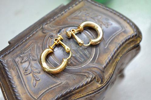 中古鍍金粗半圓圈耳夾 貴婦淑女 日本高級二手古著珠寶首飾