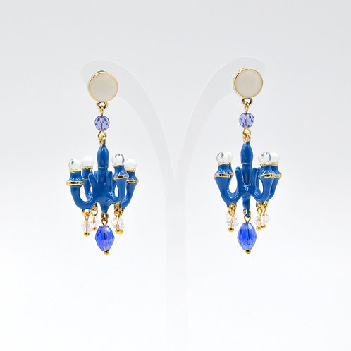 TIMBEE LO 皇室藍色 迷你吊燈耳環 法式樹脂搪瓷塗層 Royal Blue Mini Chandelier Earring