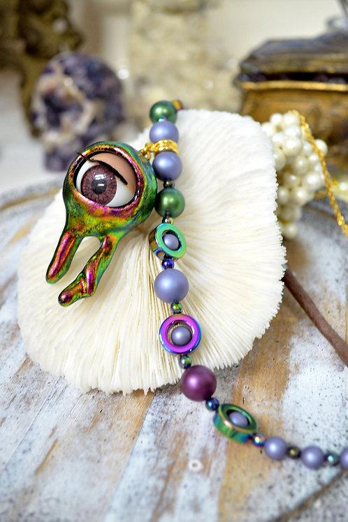 <怪獸系列> 幻彩綠色液流態 活動眼珠項鍊頸鍊  貝殼珍珠子 鍍真金項鍊