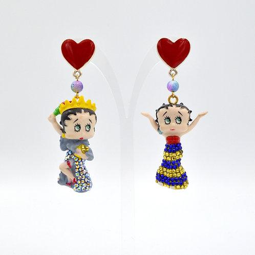 彩色派對造型BETTY BOOP 綴水晶石耳環 Colorful Betty Boop with Swarovski Crystal Earring