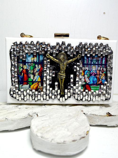 白色宗教風圖案寶石手提盒子包