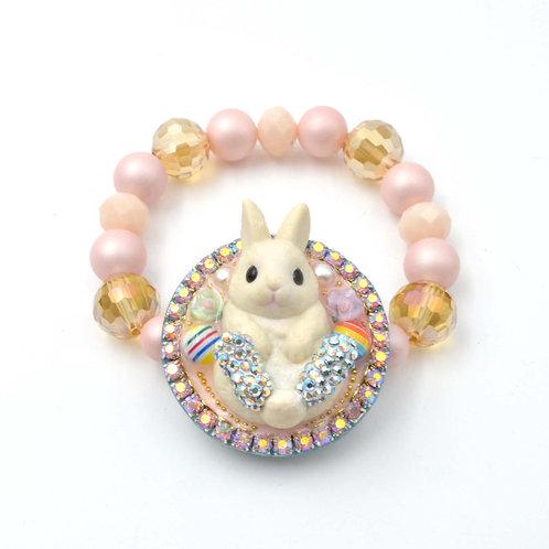 立體白色兔子串珠橡筋手鍊 圍邊水晶裝飾花邊 貝殼珍珠 原創設計