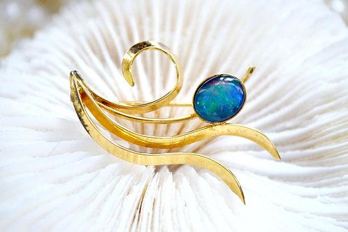 簡約鍍金奧柏石胸針 貴婦少女 輕珠寶 日本高級二手古著珠寶首飾