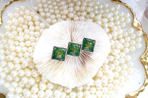 中古彩繪藝術綠色鍍銀胸針 貴婦淑女 日本高級二手古著珠寶首飾