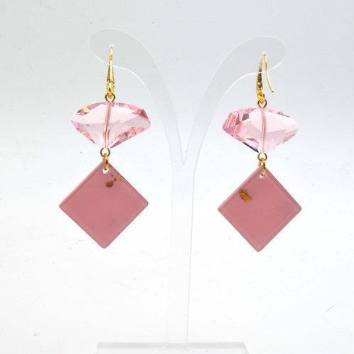 粉紅色施華洛不規則水晶石耳環  Baby Pink Swarovski Crystal Earrings