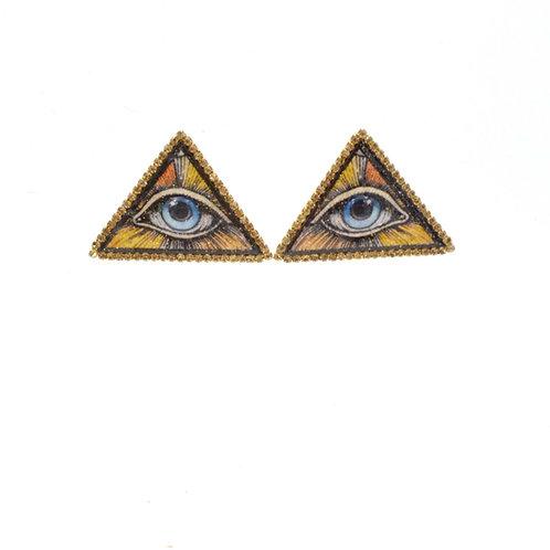 TIMBEE LO 光明會三角眼睛圖案 木片耳環 綴施華洛水晶