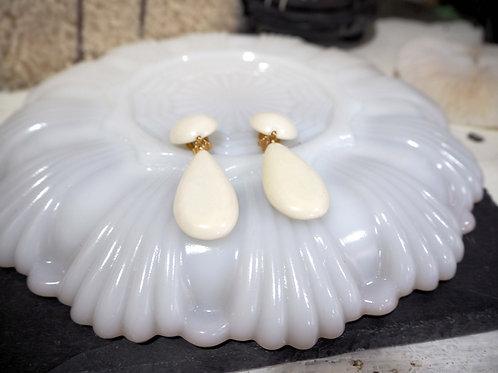 白色樹脂圓型拼大水滴型夾耳環耳夾 貴婦人淑女 日本高級二手古著珠寶首飾