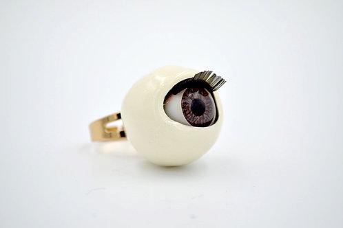 白色活動眼珠戒指 閃粉糖果色系